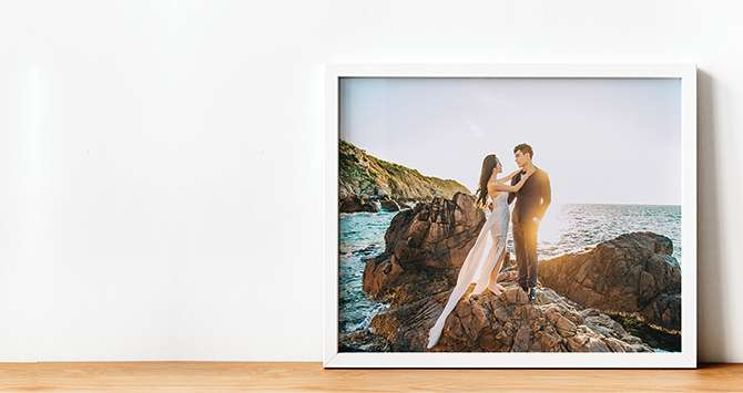large print of a couple framed