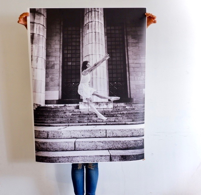 large photo prints on wall