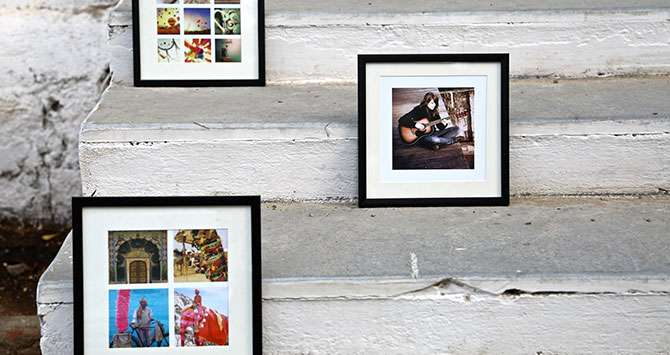 photo frames of one, nine, and four images