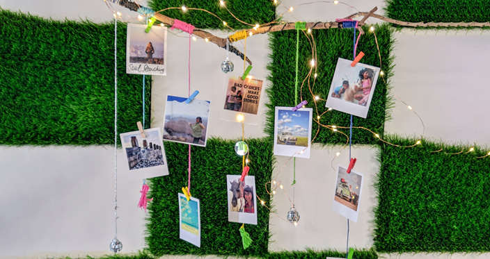 square photo prints with lights